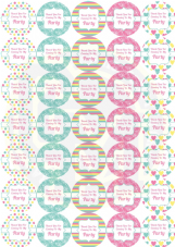 Pretty Birthday Party Stickers - Sweet Cone Party Bag Labels